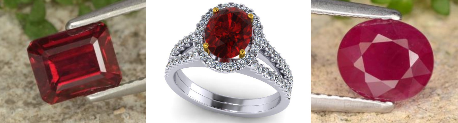 Left image: 1.68ct Step Cut Ruby, Origin: Mozambique, Clarity: VS - SI, Treatment: Heated, Source: https://www.gemselect.com/ Middle image: Ruby and diamond ring Right image: 1.37ct Oval Cut Ruby, Origin: Myanmar, Clarity: VS - SI, Treatment: Heated, Source: https://www.gemselect.com/