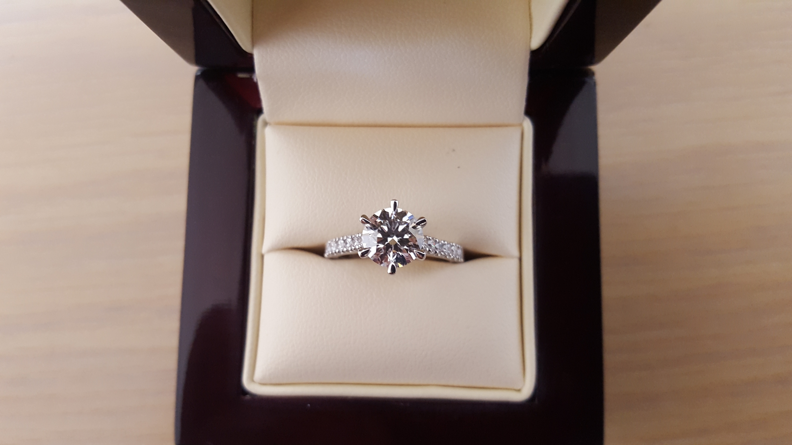 Engagement Ring: 1.52ct diamond set in platinum